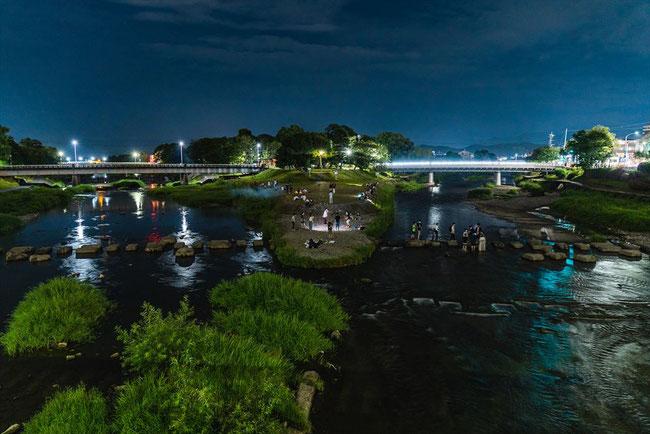 夜の鴨川デルタ