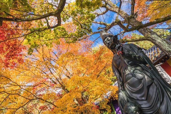 秋の今熊野観音寺のぼけ封じ観音と紅葉