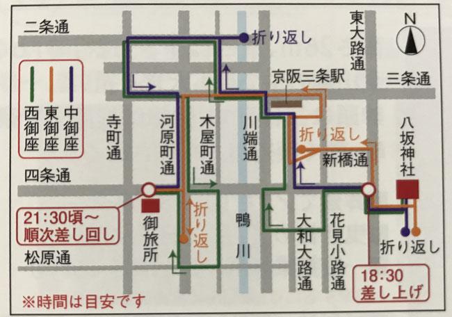 7月17日祇園祭・神幸祭ルートマップ