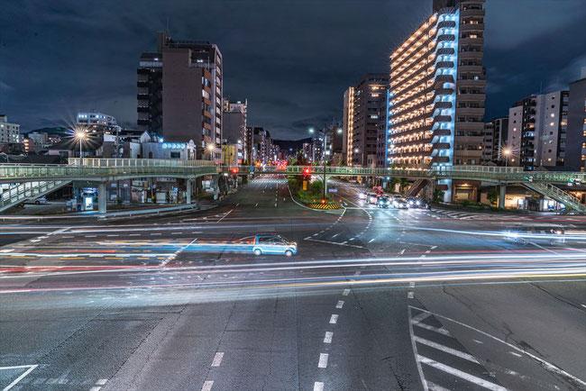 五条堀川歩道橋レーザービーム写真