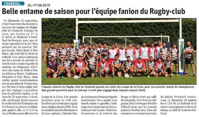 Dauphiné Libéré du 17-08-2019- Rugby-club