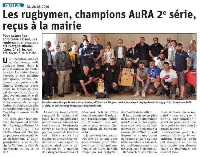 Le Dauphin& Libéré du 28-05-2019- Rugby