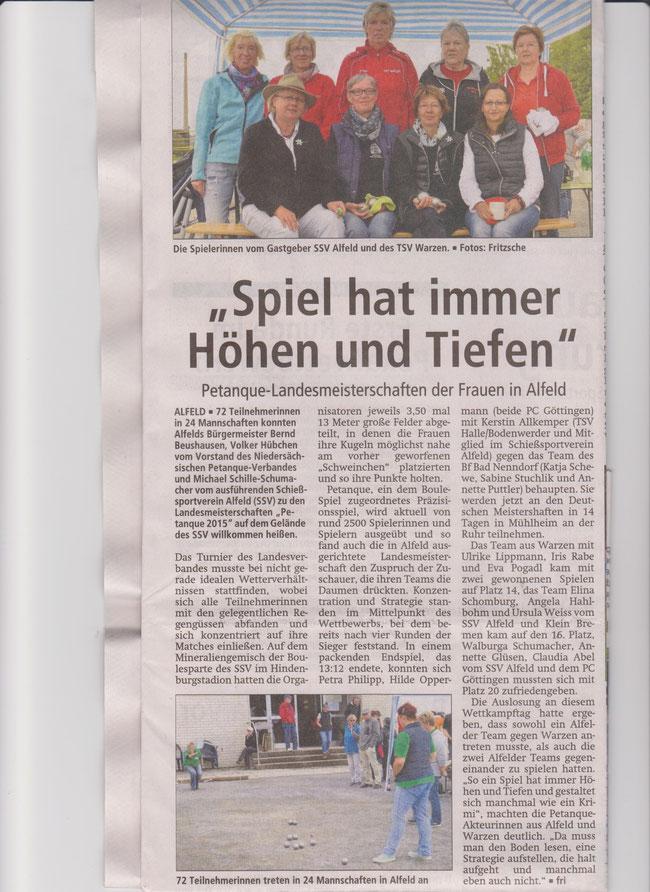 Leine Deister Zeitung Gronau/ Leine 10.9.2015