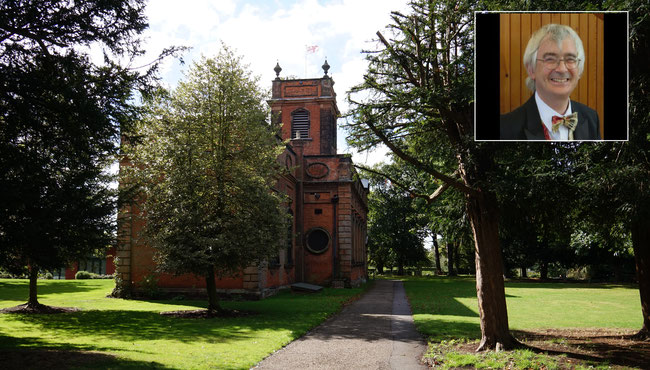 St Mary & St Margaret, Castle Bromwich parish church viewed from the east. Inset: Martin Bates, church organist