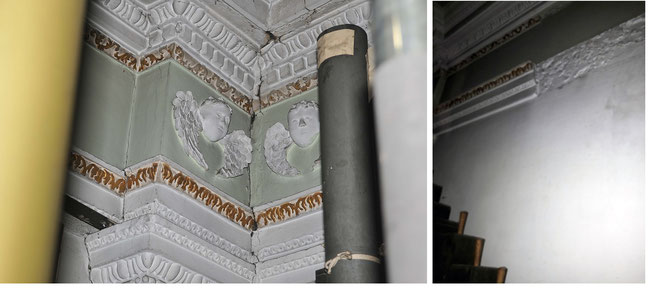 Left: part of the original plaster frieze. Right: the frieze removed for earlier organ pipes.