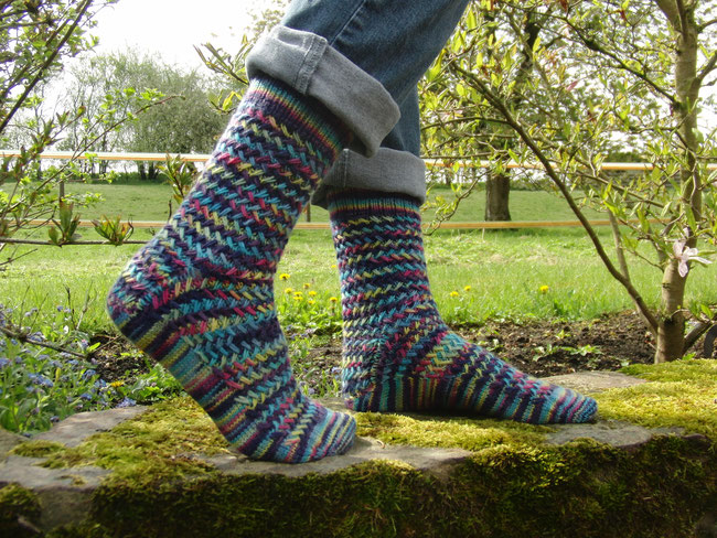 Basketwork Socks in Knit Picks Stroll Hand Painted in colourway Big Top