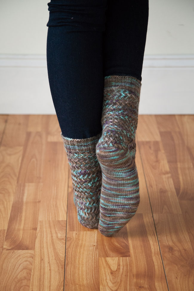 © Knit Picks / Basketwork Socks in Knit Picks Stroll Hand Painted in colourway Coffee Shop