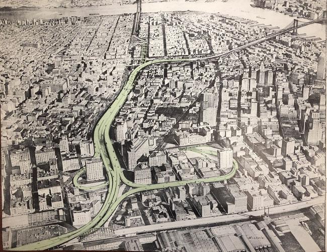 モーゼスによる高架高速道路の当初提案図