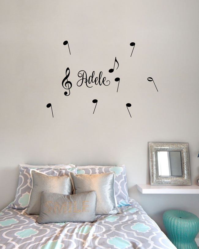 Personalised name Musical with notes wall art sticker. From wallartcompany.co.uk