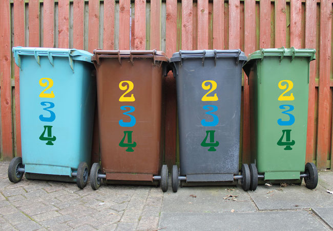 Colourful wheelie bin number stickers in an art nouveau style.