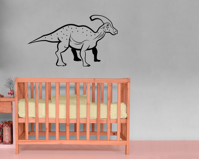 Dinosaur 'Paras' the Parasaurolophus in a hand drawn style wall art sticker