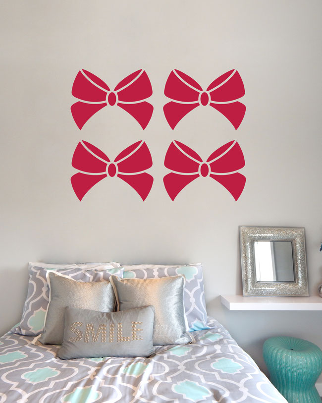 Sarah Ribbon Bow wall art sticker for decorating girl's bedrooms and making them look very pretty.