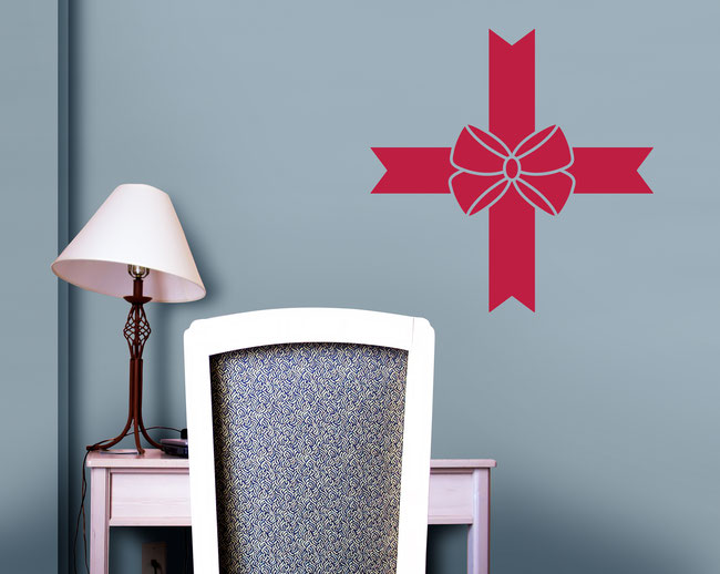 Shirley Ribbon Bow wall art sticker for decorating girl's bedrooms and making them look very pretty.