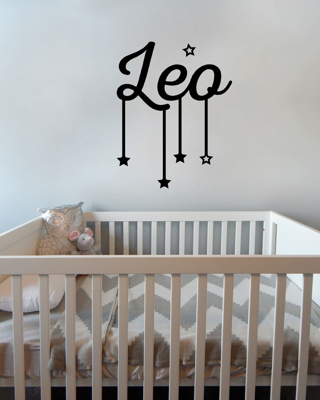 Personalised hanging star name wall art sticker. From wallartcompany.co.uk
