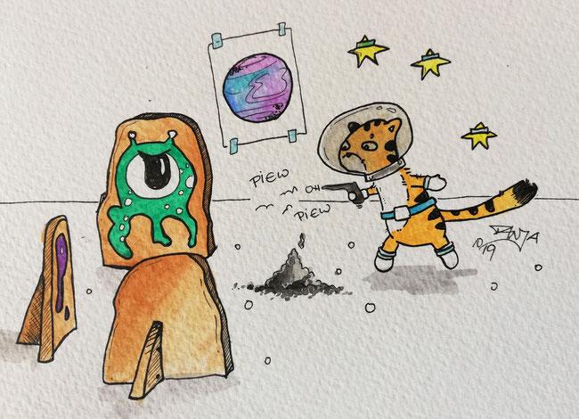 #Oktober #Zeichnung #ink #black #white #Tusche #Fineliner #schwarz #weiß #Challenge #drawing #illustration #inktober2019 #catober #catober2019 #catsofinstagram #cat #Katze #süß #niedlich #Space #Weltraum #Alien #spielen
