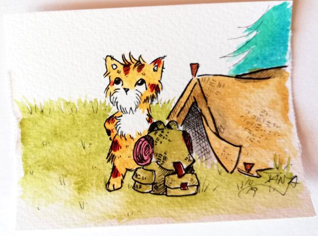*hach* Einfach mal in die Natur, dachte sich die kleine Katze. Packte kurzerhand ihre sieben Sachen und verschwand aufs Nachbargrundstück. Zum Abendessen will sie wieder daheim sein - es gibt Lachs.