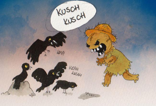 """Aquarellzeichnung mit digitaler Überarbeitung für die 365-Tage-Doodle-Challenge zum Thema """"Vogelscheuche""""."""