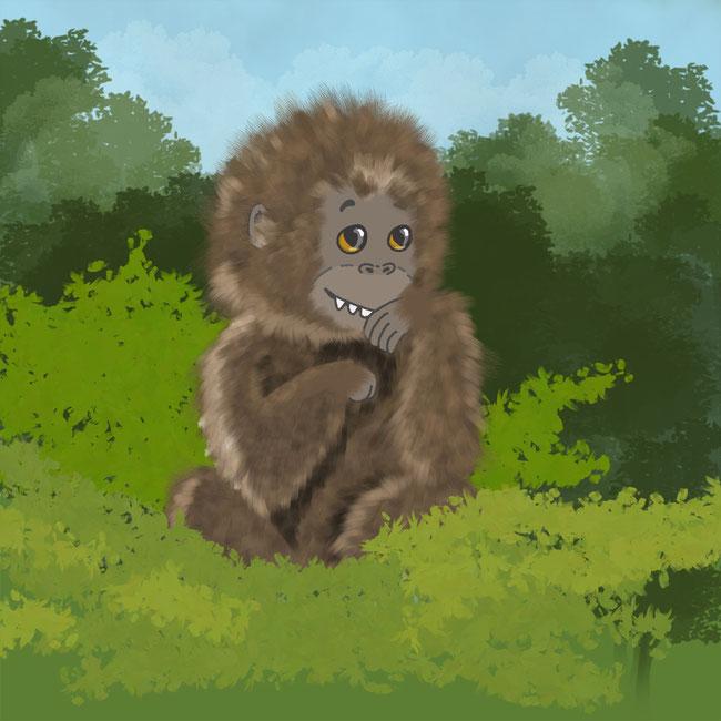 Photoshop, digital, Affe, Dschungel, Urwald, Baum, Baumkrone, grün, Zeichnung, zeichnen, grinsen, Fell, Tier