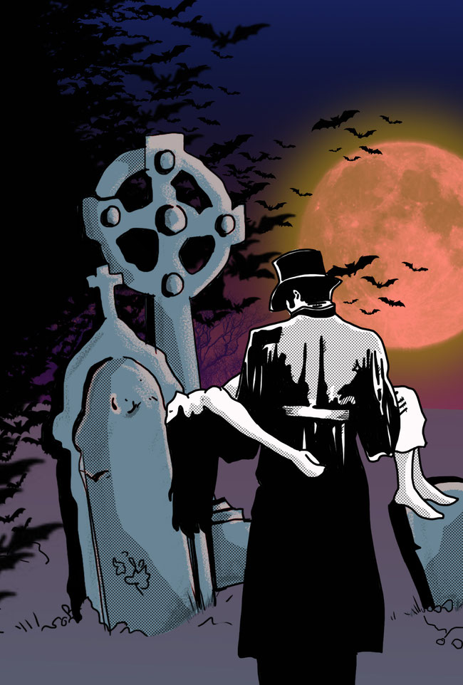 Nachdem ich meine Pinsel für Photoshop neu sortiert hab, hab ich einige gleich mal an der Vampir-Vollmond-Friedhofsszene ausprobiert.