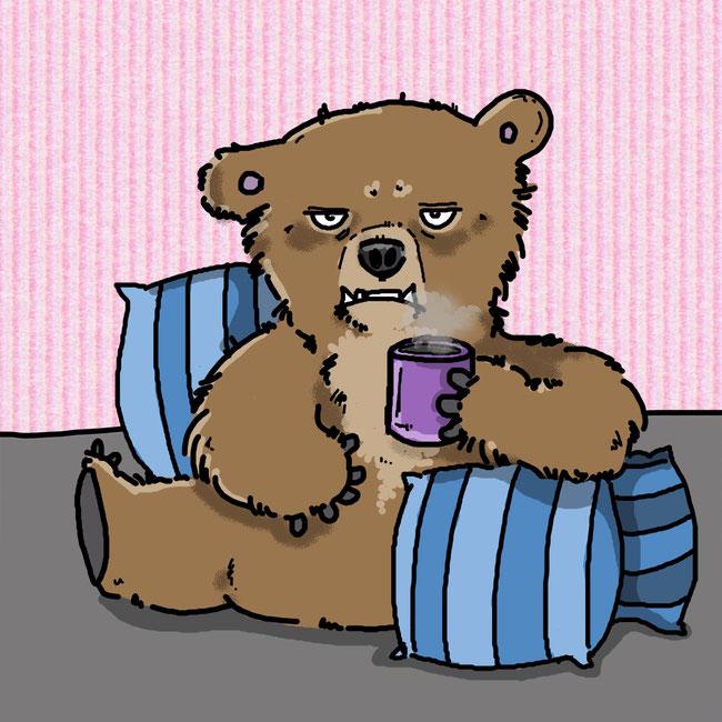 Photoshop, digital, Zeichnung, Bär, Montag, Kaffee, müde, Morgenmuffel, grummelig, Tier, kreativ