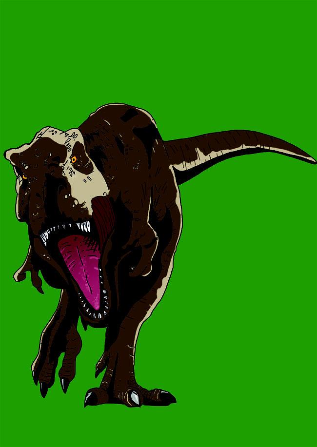 Photoshop, Zeichnung, digital, Dino, Dinosaurier, T-Rex, Tyrannosaurus Rex, Urzeit, brüllen, Spaß