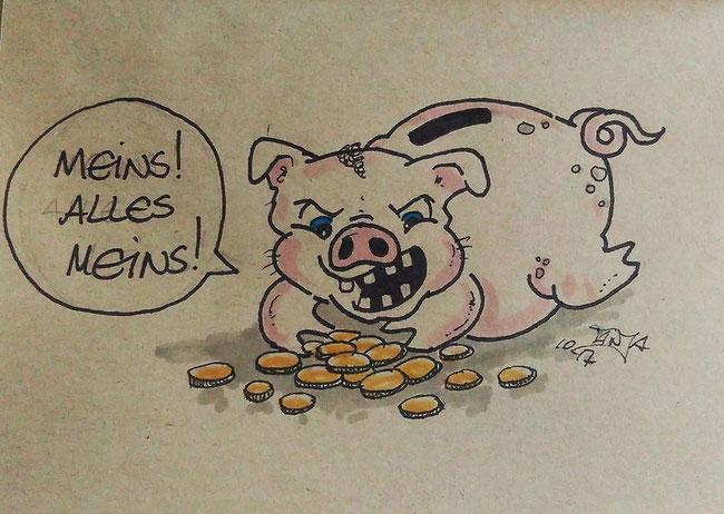 Zeichnung für die 365-Tage-Doodle-Challenge zum Thema: Spardose.