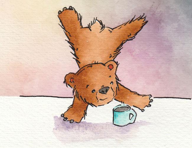Zeichnung von einem Bären, der Handstand macht für die 365-Tage-Doodle-Challenge.