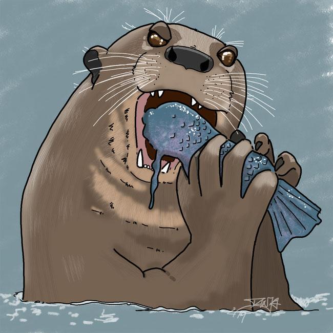 Photoshop, digital, Otter, Tier, essen, Frühstück, Fisch, Wasser, Appetit, mjammi, Zeichnung, zeichnen, kreativ, hungrig