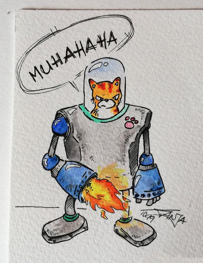 Eine Katze im technisch, hochentwickelten Roboteranzug will die Weltherrschaft an sich reißen. Ein Bild gezeichnet mit Fineliner und Aquarellfarbe.