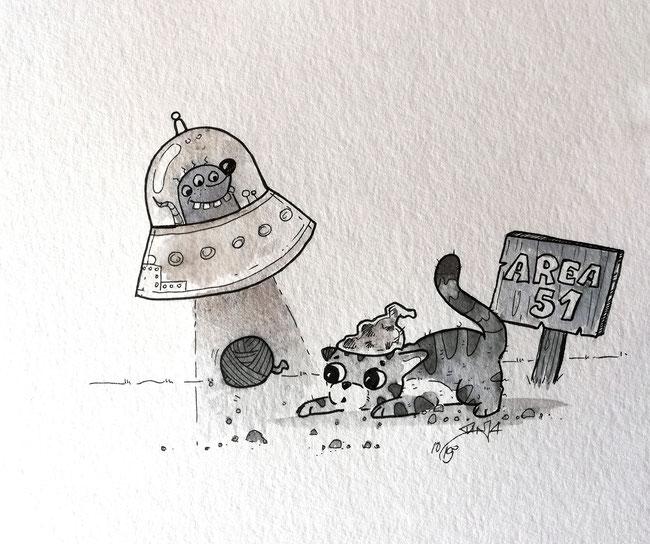 """Inktober Tag 3 - heute waren die Begriffe """"Area 51"""" & """"bait/Köder bzw. Verlockung"""" dran"""