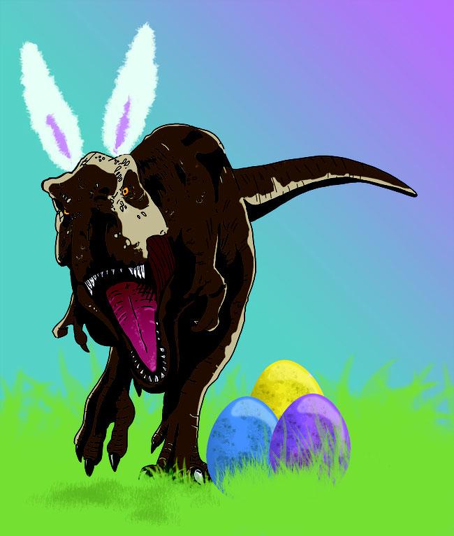 Photoshop, Zeichnung, digital, Dino, Dinosaurier, T-Rex, Tyrannosaurus Rex, Urzeit, brüllen, Spaß, Ostern, Eier, Karte