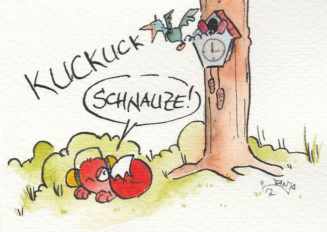 """Zeichnung zum Thema """"Kuckuck"""" für die 365-Tage-Doodle-Challenge."""