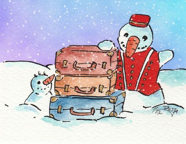 Zwei Schneemänner wollen auf Reisen gehen.