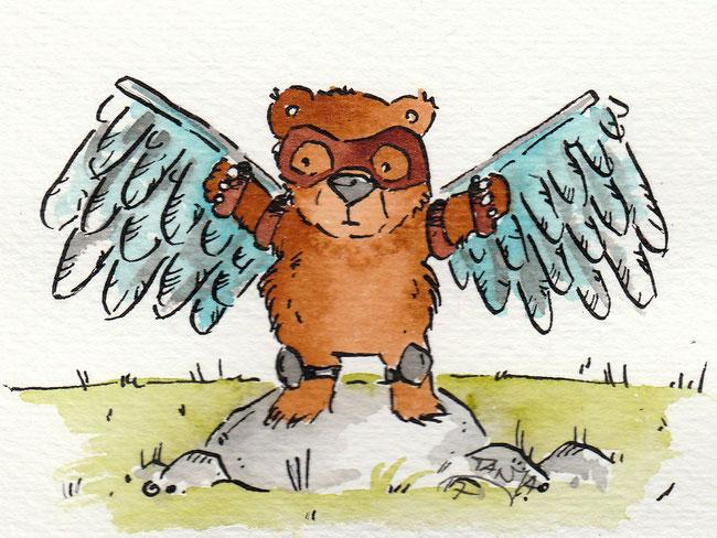Der kleine Bär will mit seinen Flügeln hoch hinaus.