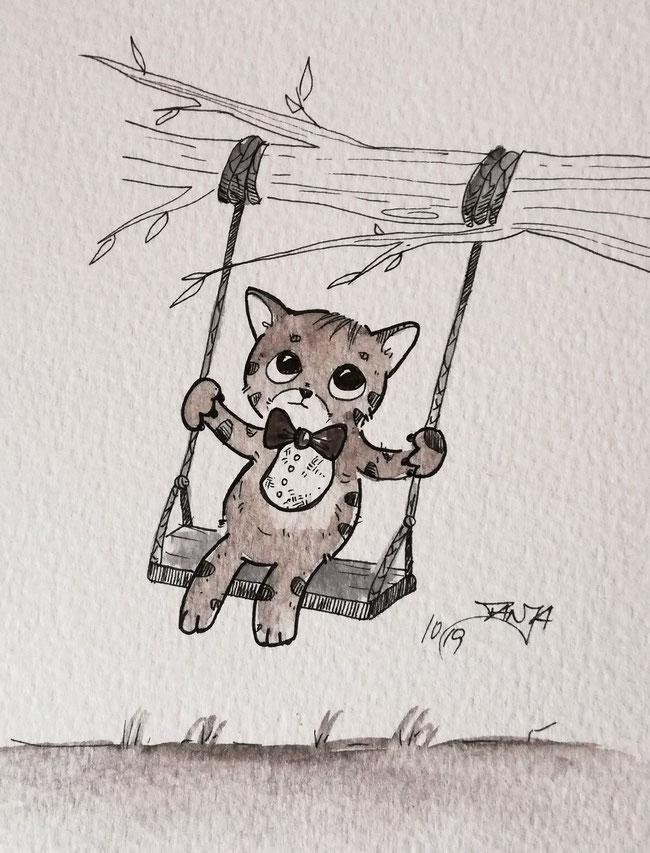 #Oktober #Zeichnung #ink #black #white #Tusche #Fineliner #schwarz #weiß #Challenge #drawing #illustration #inktober2019 #catober #catober2019 #catsofinstagram #cat #Katze #süß #niedlich #Schaukel #glücklich #happy #swing
