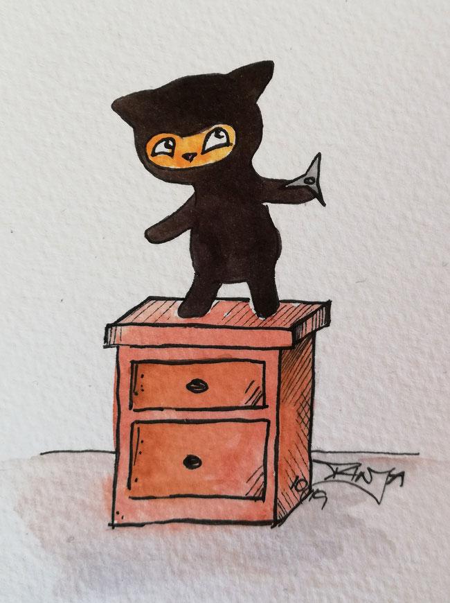 #Oktober #Zeichnung #ink #black #white #Tusche #Fineliner #schwarz #weiß #Challenge #drawing #illustration #inktober2019 #catober #catober2019 #catsofinstagram #cat #Katze #süß #niedlich #Ninja