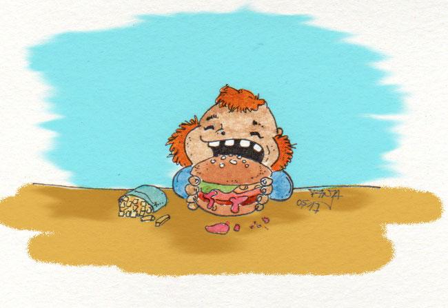 365-Tage-Doodle-Challenge - Stichwort: Burger mit Pommes