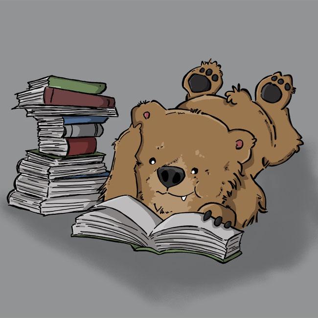 Photoshop, digital, Bär, Zeichnung, lesen, Buch, Bücher, Kälte, Sonntag, Zeit, Wetter, Geschichten, Fantasie