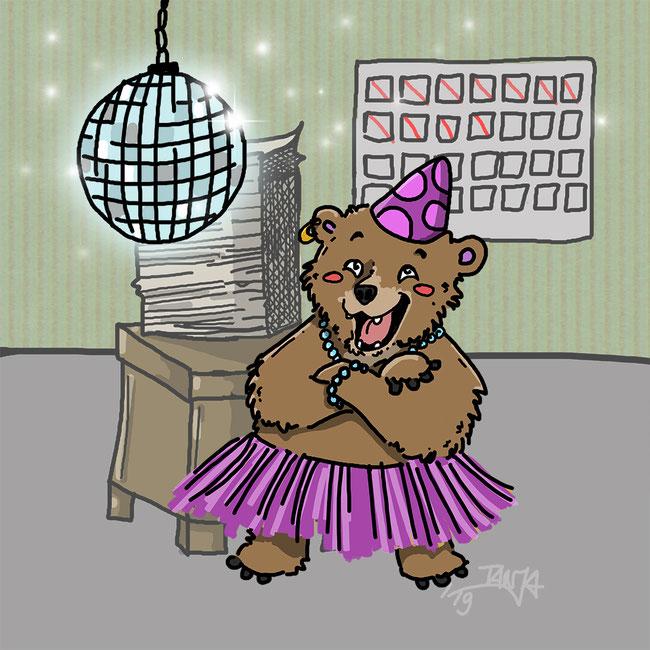 Photoshop, Bär, Büro, Party, Rock, Partyhut, Discokugel, zeichnen, Zeichnung, digital, Spaß
