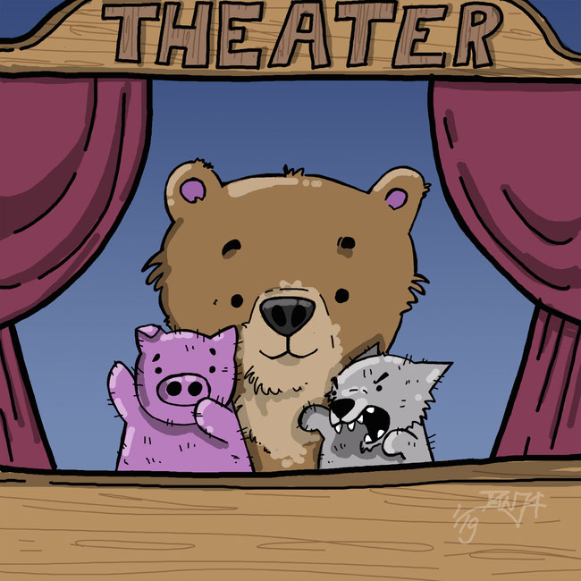 Photoshop, digital, Bär, Comic, Theater, spielen, Zeichnung, Handpuppe, Puppentheater, Theater, Fantasie, spielen, Spaß