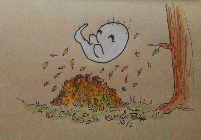 Zeichnung für die 365-Tage-Doodle-Challenge zum Thema: Herbstlaub.