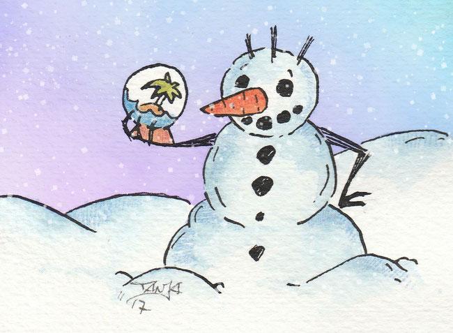 """Zeichnung zum Thema """"Schneekugel"""" für die 365-Tage-Doodle-Challenge."""