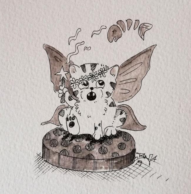 #Oktober #Zeichnung #ink #black #white #Tusche #Fineliner #schwarz #weiß #Challenge #drawing #illustration #inktober2019 #catober #catober2019 #catsofinstagram #cat #Katze #süß #niedlich #Zauber #fairy