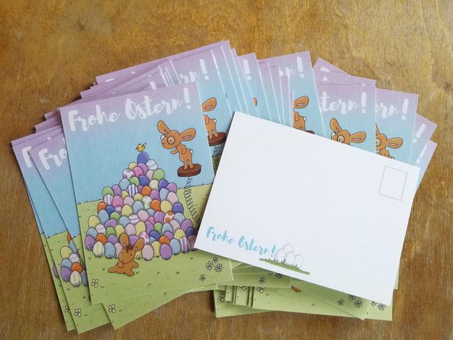 Ostern, Osterpostkarte, Postkarte, Postkarten, Hase, Ei, Eier, Wiese, Küken, Post, schreiben, Grüße, Frohe Ostern, feiern, suchen