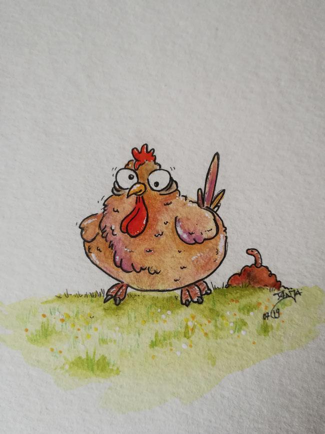 .. ein kleines Lebenszeichen von mir :) - hab den frühen Vogel entdeckt. Allerdings sieht er noch etwas verpeilt aus - wird wohl nix mit dem Wurm 🤣