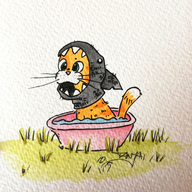 #Oktober #Zeichnung #ink #black #white #Tusche #Fineliner #schwarz #weiß #Challenge #drawing #illustration #inktober2019 #catober #catober2019 #catsofinstagram #cat #Katze #süß #niedlich #Hai #Kostüm #fancy #shark