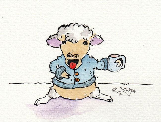 """Zeichnung zum Thema """"Strickjacke"""" für die 365-Tage-Doodle-Challenge."""