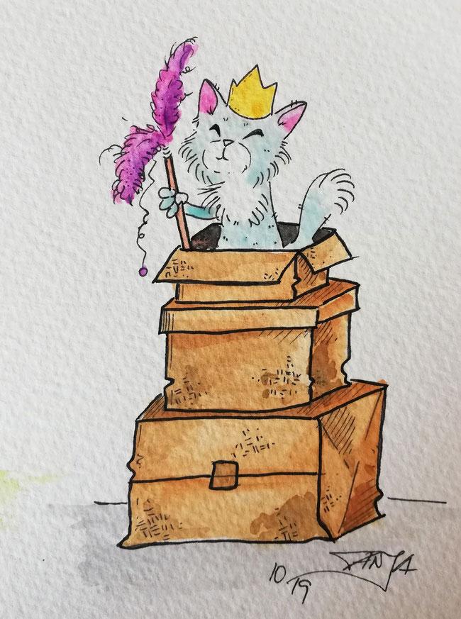 #Oktober #Zeichnung #ink #black #white #Tusche #Fineliner #schwarz #weiß #Challenge #drawing #illustration #inktober2019 #catober #catober2019 #catsofinstagram #cat #Katze #süß #niedlich #Königin #queen #royal #Kartons