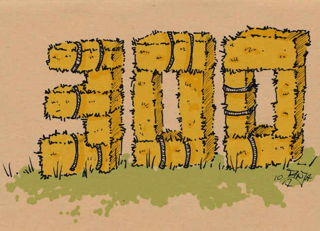 Zeichnung für die 365-Tage-Doodle-Challenge zum Thema: Heuballen.