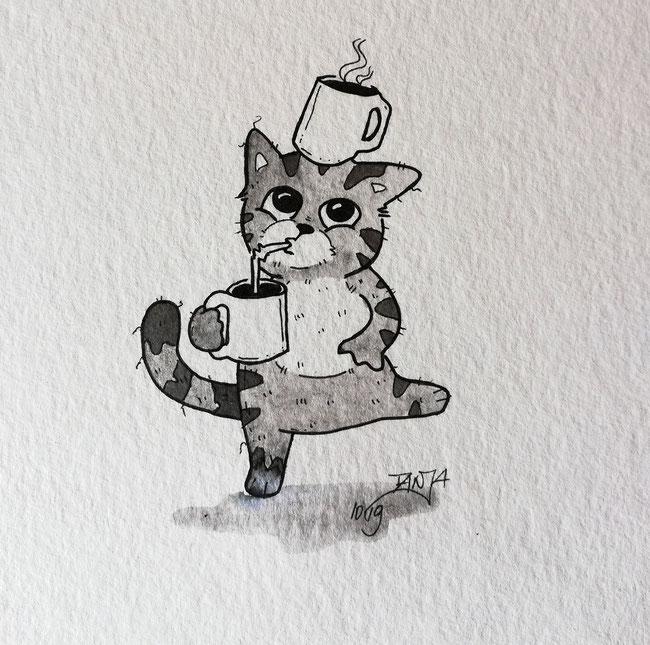 """Die zweite Inktober-Zeichnung. Dieses Mal kombinierte Begriffe """"Mindless"""" und """"CoffeeCat""""."""